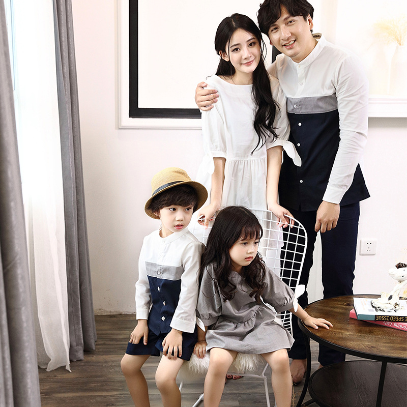 Spring Summer Family Matching Outfits White Grey Patchwork Mother Daughter Dress Shirt  Leisure Sets Kids Clothes