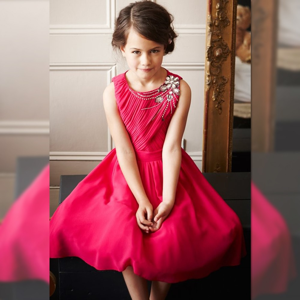 Flower Girl Dresses Red Real Party Pageant Communion Dress Little Girls Kids/Children Dress for Wedding Mother Daughter Dresses real picture little flower girls dresses