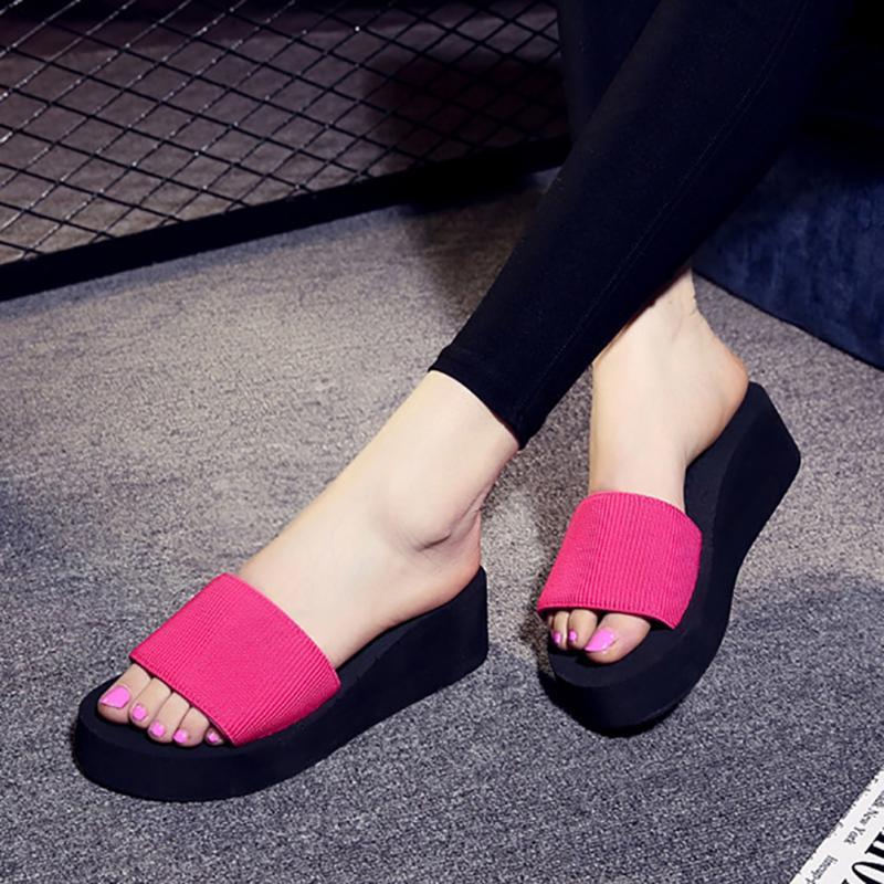 Platform bath slippers Wedge Beach Flip Flops High Heel Slippers For Women Brand Black EVA Ladies Shoes 1