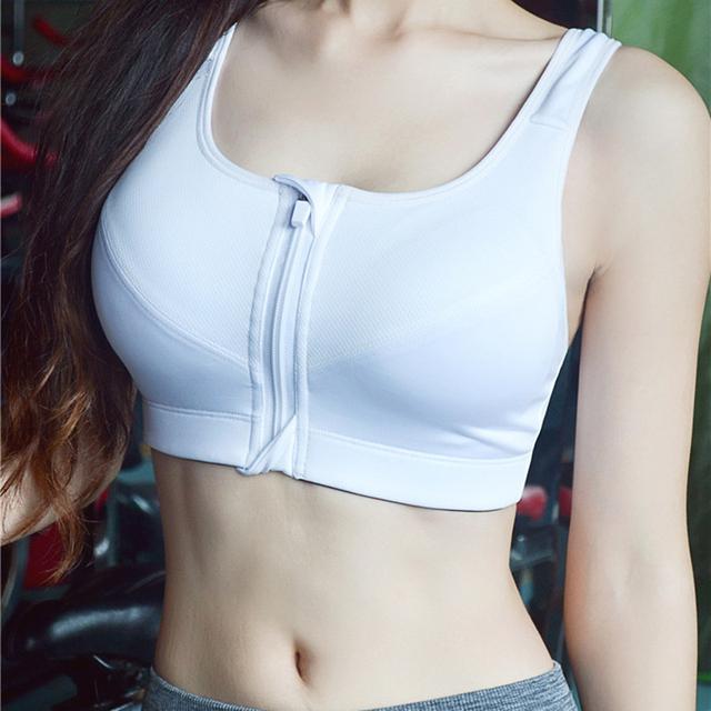 7 Color Fitness Yoga Push Up Sports Bra Women Gym Running Padded Tank Top Athletic Vest Underwear Shockproof Zipper Sports Bra