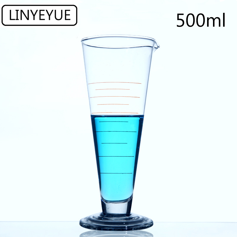 LINYEYUE 500mL Graduate Conical Glass Measuring Cup Measuring Glass Triangle Beaker Laboratory Cylinder Chemistry Equipment