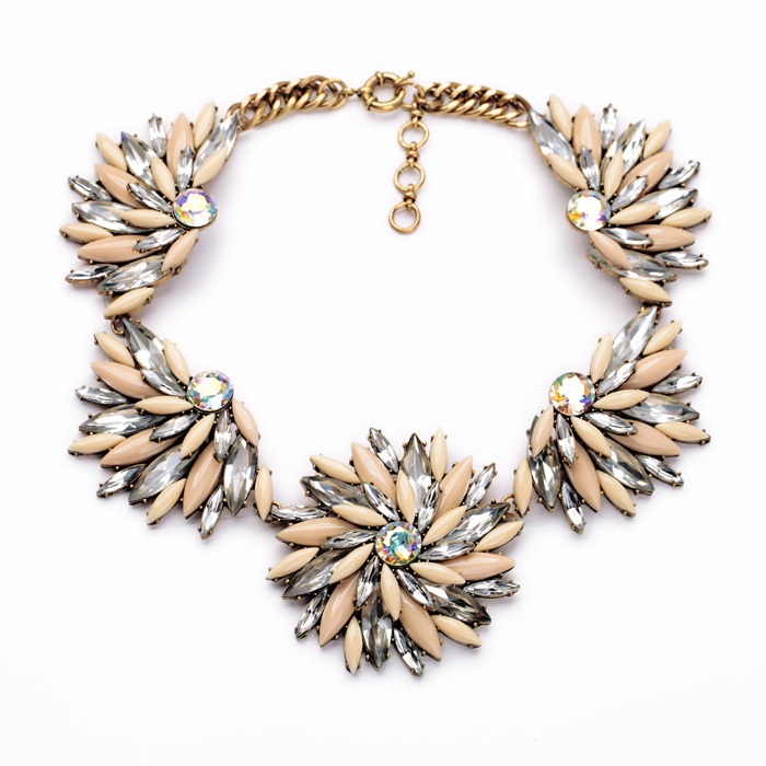 New Style Dress Match Resin Zinc Alloy Top Statement Women Flower Maquise Graceful Chunky Chokers Necklace
