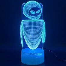 3d Led Night Light Lamp Movie WALL E 2 Robot Eva Figure Lampara Light Home Decoration Birthday Gift for Kids Baby Nightlight цены онлайн