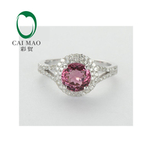 NEW!! 14KT White Gold Natural IF Pink Tourmaline & Dimonds Engagement Ring Free Shipping