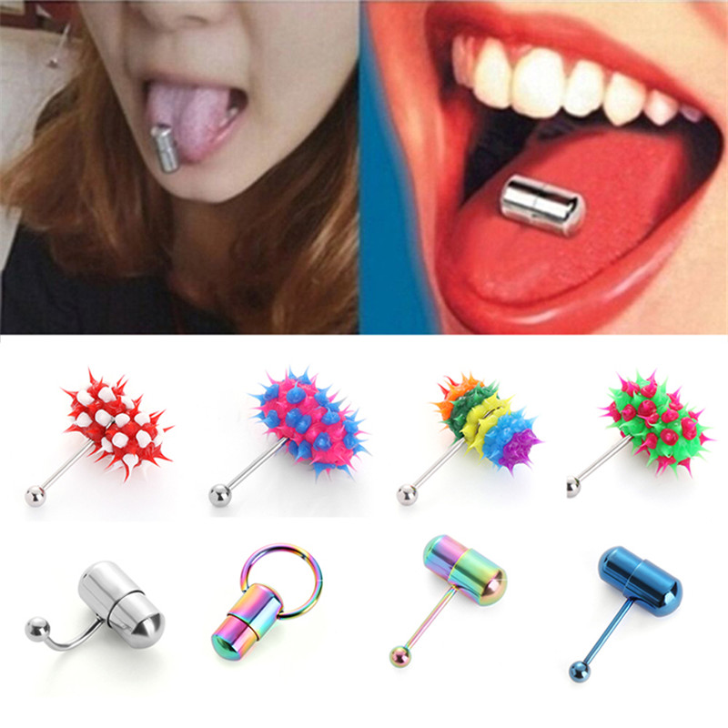 Morease Tongue Vibrator Ring Vibrating Sex Toy for Men Women Barbell Blowjob Fun Climax Clit Penis Massage Punk Style Sexy Adult punk style solid color hollow out ring for women
