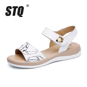 Image 2 - STQ 2020 Giày Sandal Nữ Mùa Hè Da Thật Chính Hãng Da Đế Bằng Dây Đeo Mắt Cá Chân Đế Bằng Nữ Trắng Peep Toe Flipflops 1803