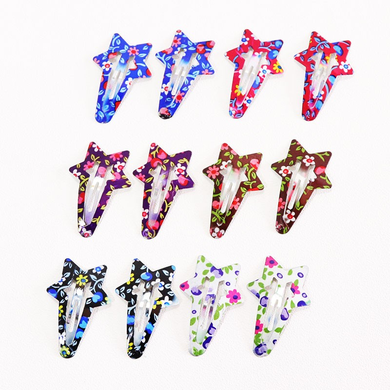 HTB1paSQOpXXXXXTapXXq6xXFXXXv Delightful Flower Geometric Print Hair Clip Set For Women - 7 Sets