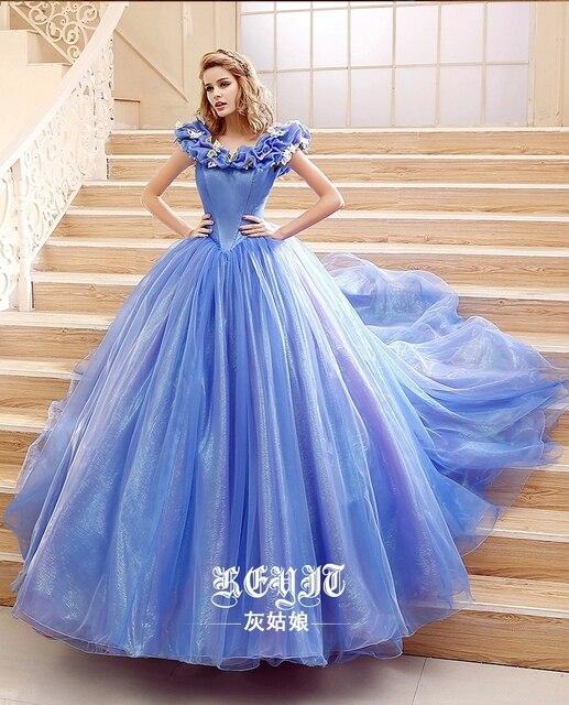 2015 Movie Cinderella Dress Cinderella Wedding Dress Blue & White Dress New Cinderella Costume