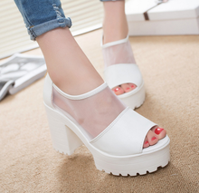 Factory Direct Sale Women Summer Shoes White Black Fashion Platform Soft PU Sandals Women's High-heeled Shoes Thick Heel Sandals