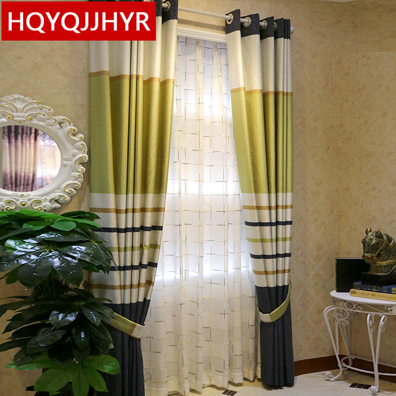 Byetee Modern Living Room Luxury Window Curtains Striped: Modern Simple Striped Luxury Chenille High Shading