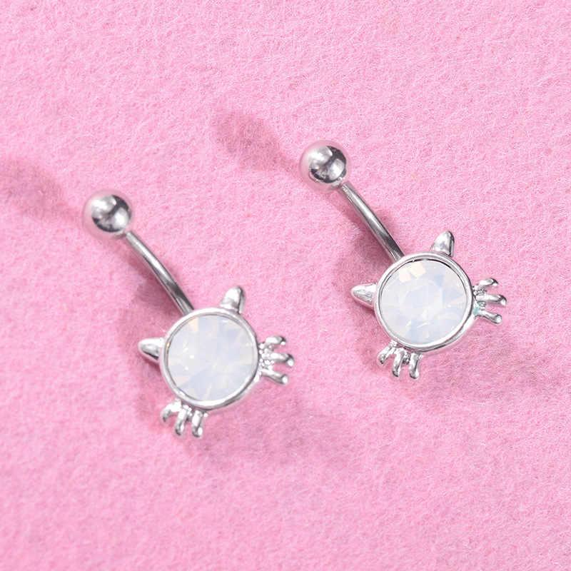 Baru Lucu Sliver Kucing Putih Wanita Opal Cincin Pusar Alergi Stainless Steel Perut Tombol Cincin Lady Piercing Perhiasan untuk gadis