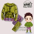Avenger Captain America Iron Man Cartoon Long Sleeve Hooded Coat Pants Two Piece Set Toddler Kids Children's Clothes Suit