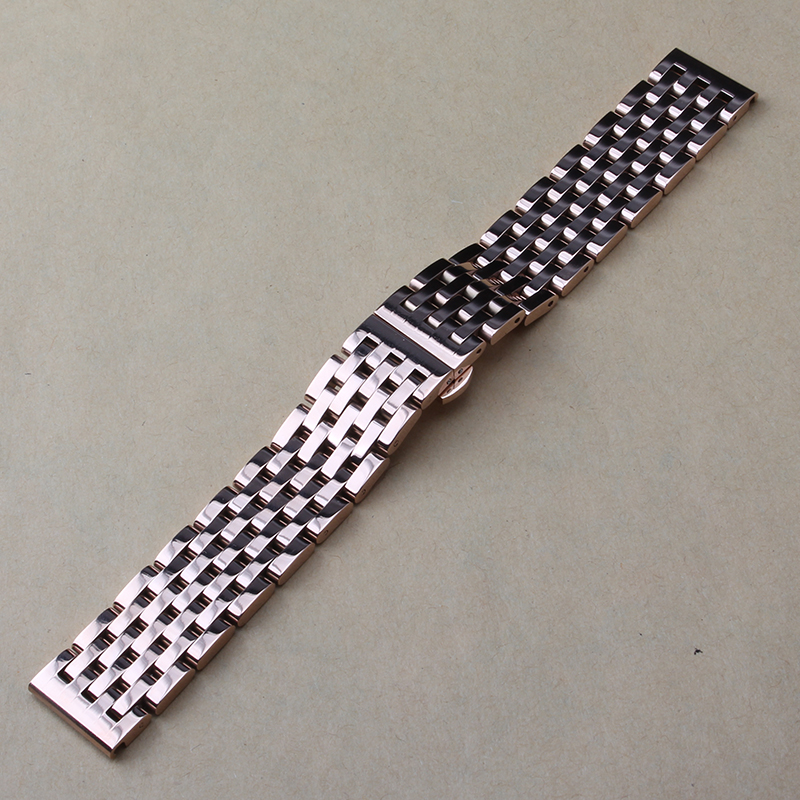 20mm 22mm Pink gold Stainless steel metal watchband bracelets Watch Band Strap Rose gold Butterfly Buckle Free tools for smart 16mm 18mm 20mm ceramic and stainless steel watchband rose gold white or rose gold black watch band watch strap butterfly buckle