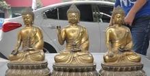 "14 ""el tíbet budismo bronce sakyamuni Joss Shakyamuni Tathagata 3 buddha statue Set"