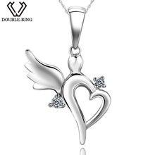 DOUBLE-R 0.03ct Real Diamond Pendants Women 925 Silver 18″ Chain Fairy Necklaces Natural Diamond Jewelry Female Valentine's Gift