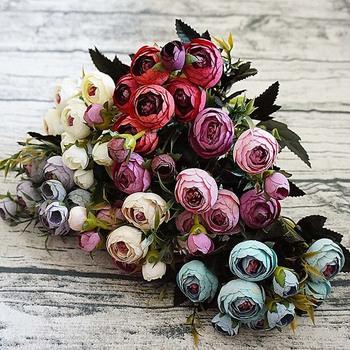 6 widelec bukiet Slik małe torebki herbaty sztuczne róże bukiet wazon do domu dekoracja dekoracji mały bukiet sztuczny kwiat hurtownia tanie i dobre opinie dycrazy CN (pochodzenie) Sztuczne Kwiaty Jedwabiu Other Bukiet kwiatów Ślub