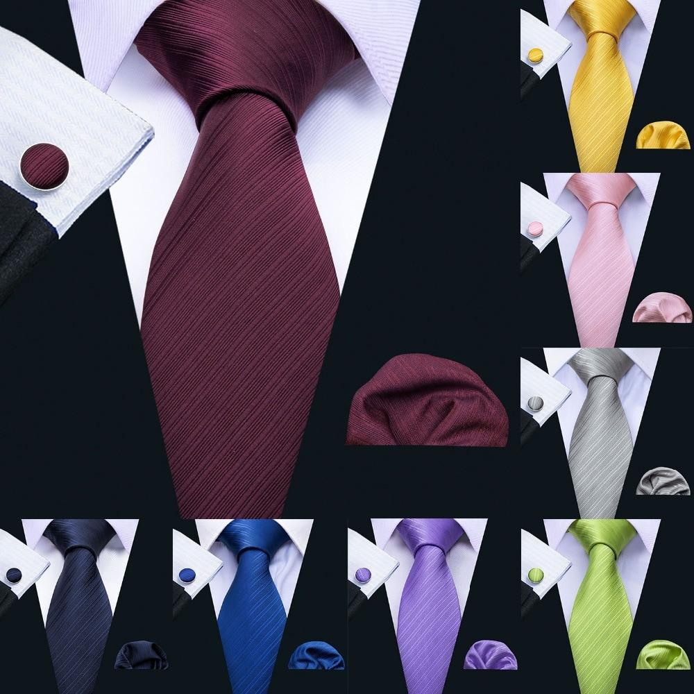 LS-5090 New Mens Ties Handkerchief Set 11 Colors Solid Silk Ties For Men Wedding Business Groom Party Barry.Wang 8.5cm Neck Tie