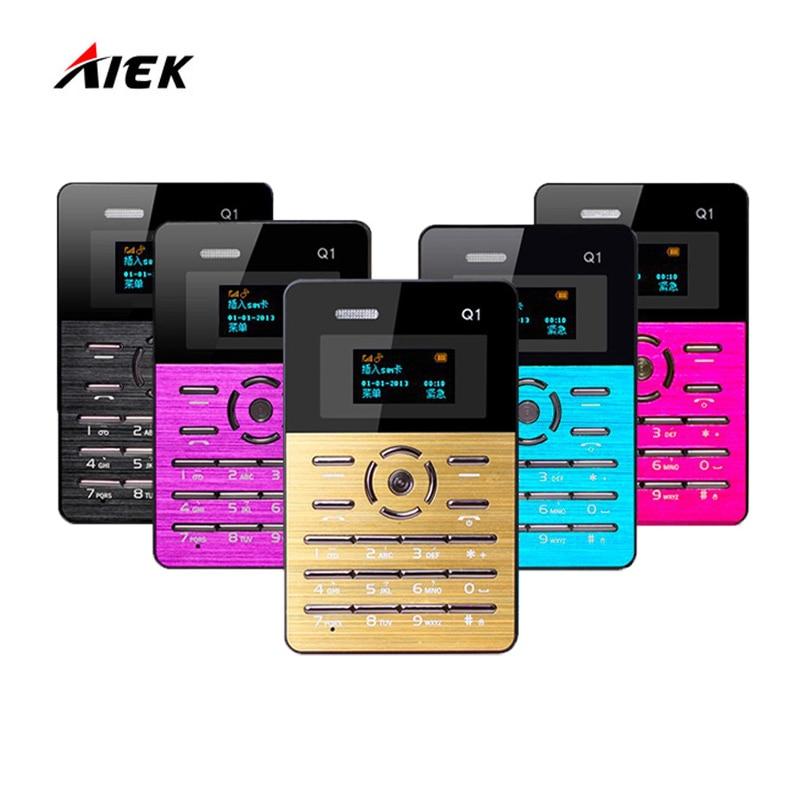 Russian Keyboard Original AIEK Q1 Ultra thin Pocket Card Children Student Mobile Phone MP3 Player FM