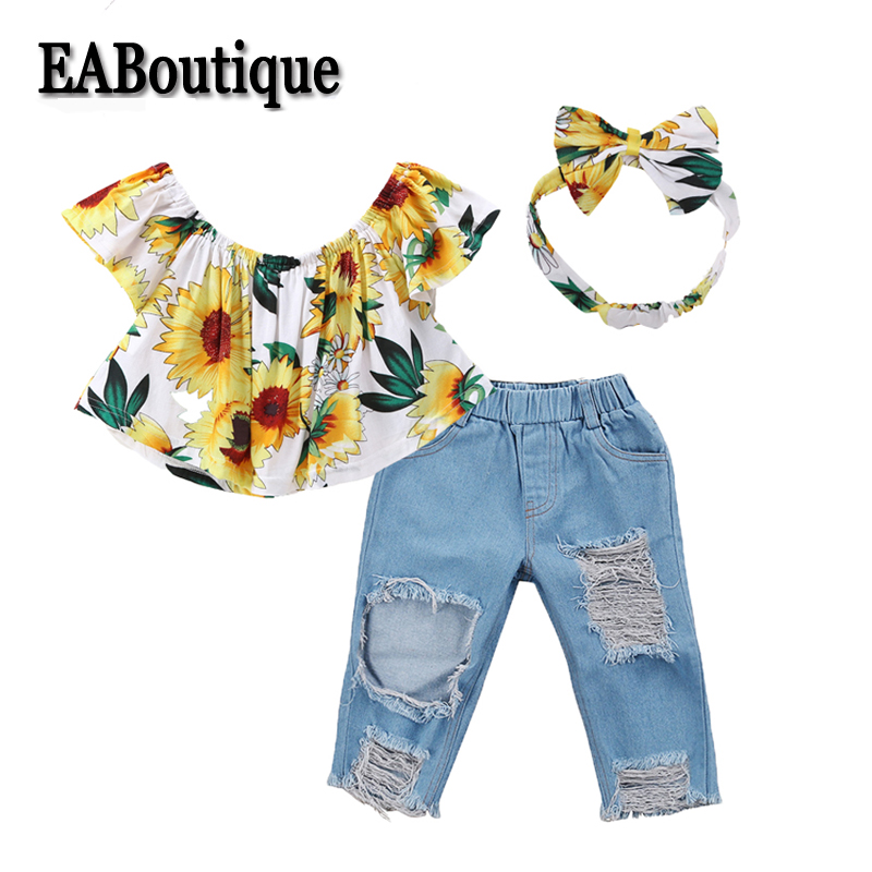 EABoutique New Summer season Children Ladies Clothes Set Sunflower Flat Shoulder Prime With Gap Causal Denim Denims Headband Outfit S606 Clothes Units, Low cost Clothes Units, EABoutique New Summer...