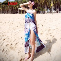 Summer Woman Sexy Beach Cover Ups Chiffon Long Dress Female Cardigan Bathing Suit Saida De Praia