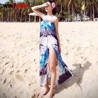 Summer Woman Sexy Beach Cover Ups Chiffon Long Dress Female Cardigan Bathing Suit Saida De Praia