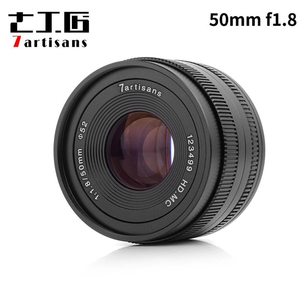 7 artesanos 50mm F1.8 enfoque manual para Sony e-mount/para micro 4/3 cámaras A6500 a6300 A6000 A7 X-A1 X-A2 E-PL1 E-PL2