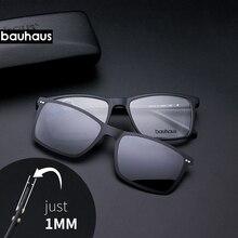 Gafas de sol ultrafinas para hombre, lentes ultrafinas con clip en marco óptico borde completo Vintage para miopía, antirreflejos/UV