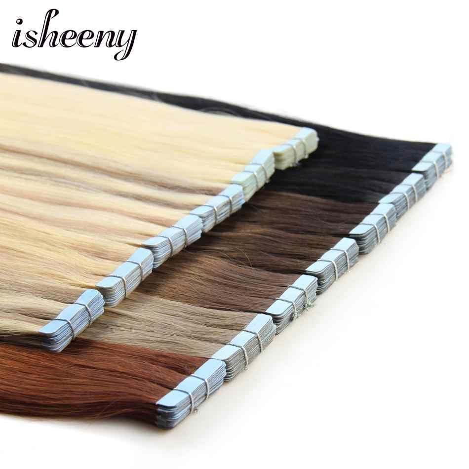 """Isheeny человеческих волос ленты расширения прямой 14 """"-24"""" уток кожи бесшовных волос образцы для салона волос тестирования"""
