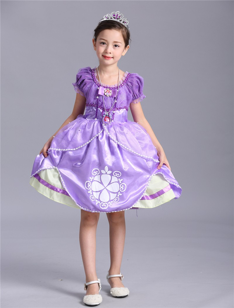Hot Sall Girls Sofia Princess Dress Kids Sophia Sleeping Beauty Party Dresses Child Girl Rapunzel Aurora Prom Purple Costume 10