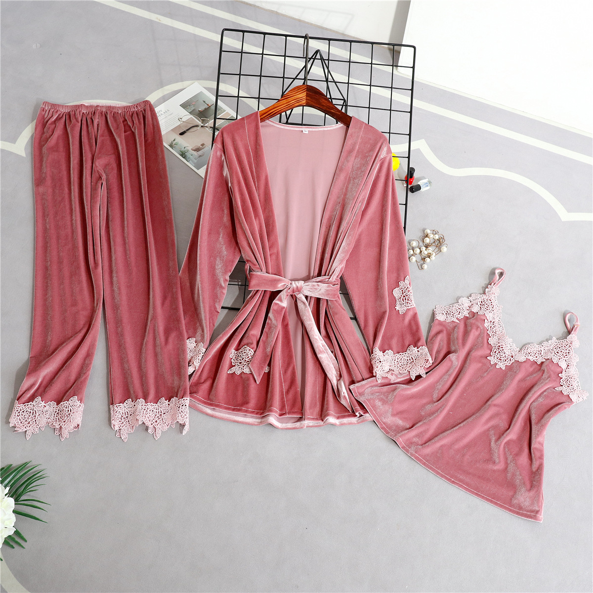 026be33991 New Women Velvet 3 Pieces Sleepwear Autumn Winter Warm Cami Pants Robe Home  Wear Floral Trim Pajama Pijama Set Thick Nightwear