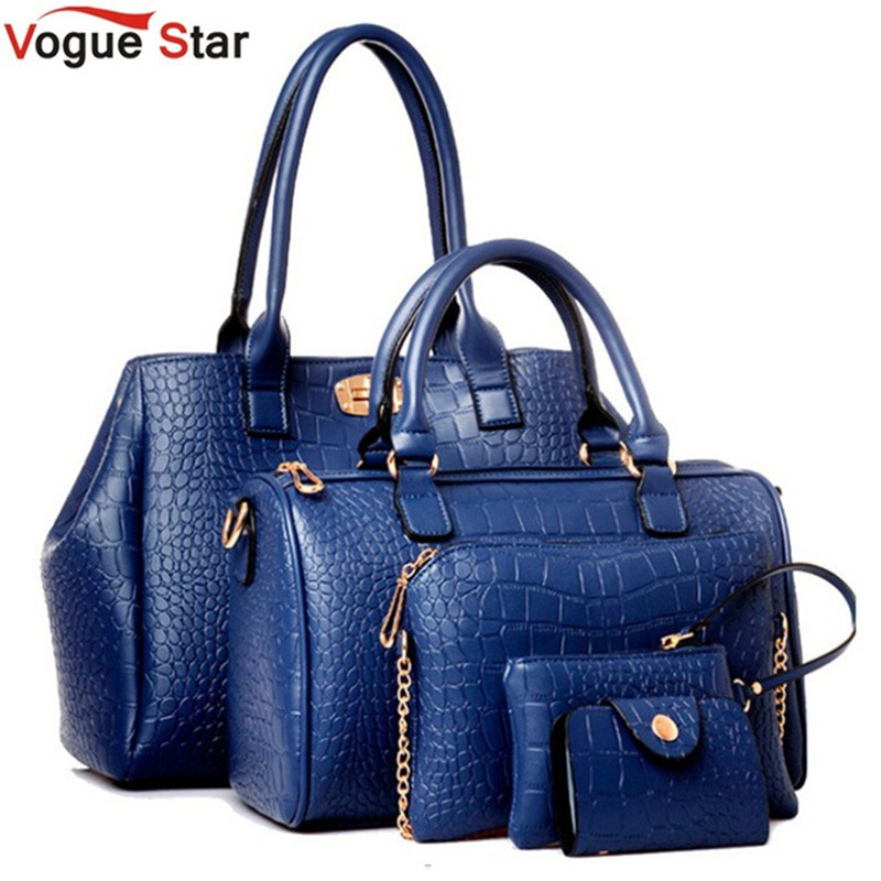 Vogue Star 2017 New 5 pcs women handbags set famous brand designer PU women bag set good quality shoulder bag women bags LS360