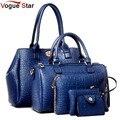 Vogue star 2017 novo 5 pcs bolsas femininas definir famosa marca designer de PU saco das mulheres set de boa qualidade saco de ombro das mulheres sacos LS360