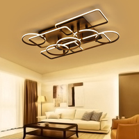 Minimalism Square And Round Rings Avize Modern Led Ceiling Lights Led Lamp For Livingroom Bedroom Brown
