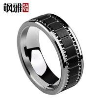 Saya Brand 8MM Width Man S Engagement Tungsten Rings High Polished Inlay Matte Black Hi Tech