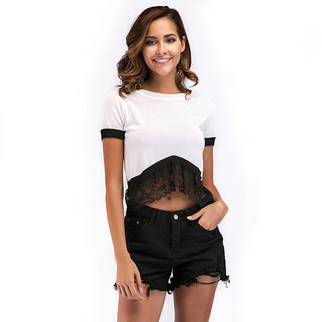 FOGIMOYA футболка Для женщин 2018 г. летние пикантные кружева лоскутное короткие футболки Для женщин s Вязание короткий рукав дырявый пупка футболки Новые Топы