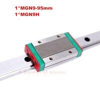 Gratis verzending 3d-printer lineaire gids 9mm lineaire gids blok MGN9H 1 st + rail MGN9 L = 95mm 1 st voor CNC Xyz Axis lineaire gids
