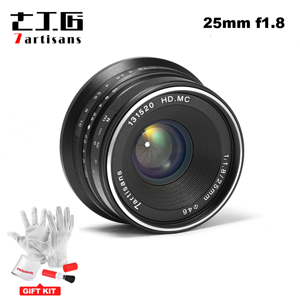 7 artigiani 25mm/F1.8 Prime Lens per Tutti I Singoli Serie per E Mount/per Micro 4/3 Telecamere a7 A7II A7R A7RII X-A1 X-A2 G1 G2 G3