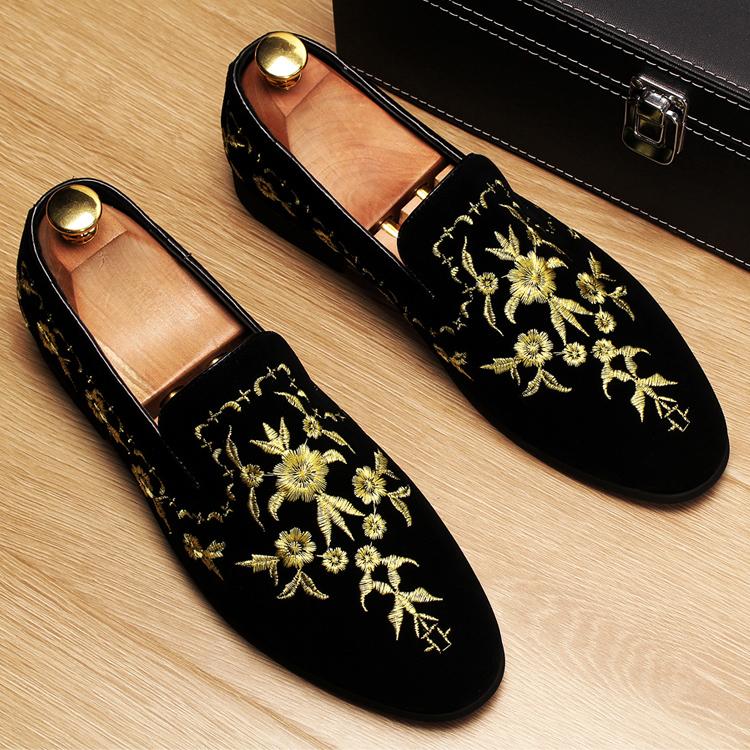 Men 2019 luxury Brand Designer shoes flock velvet Sun flower Embroidery gentleman loafers Dress Wedding driver Italian flats 9