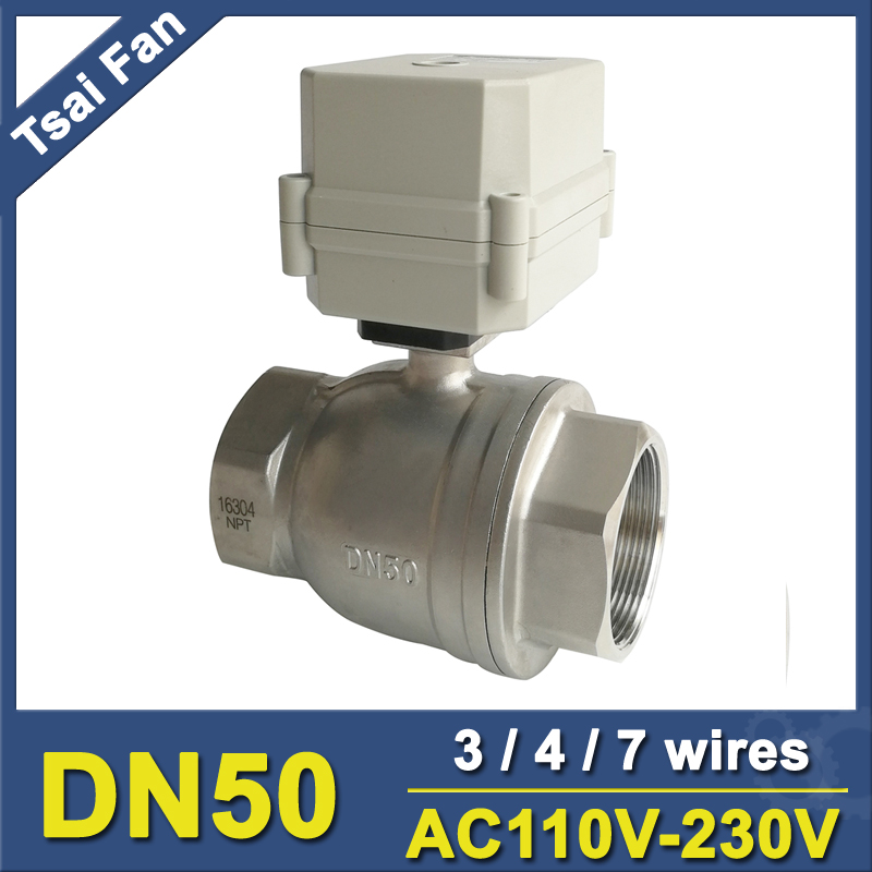 2'' Stainless Steel 304 DN50 Electric Motorized Valve With Indicator AC110V-230V 3/4/7 Wires BSP/NPT Metal Gear 10Nm женское пальто 2015
