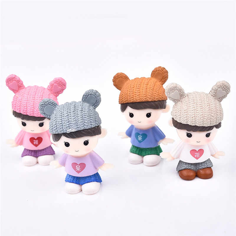 4pcs/set Sweety Lovers Couple Figurines Miniatures Fairy Garden Gnome Moss Terrariums Resin Crafts Home Decoration