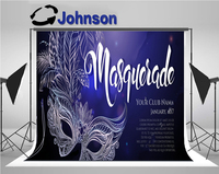 wall photo backdrop Vinyl cloth High quality Computer print Silver Carnival Mask Feathers background