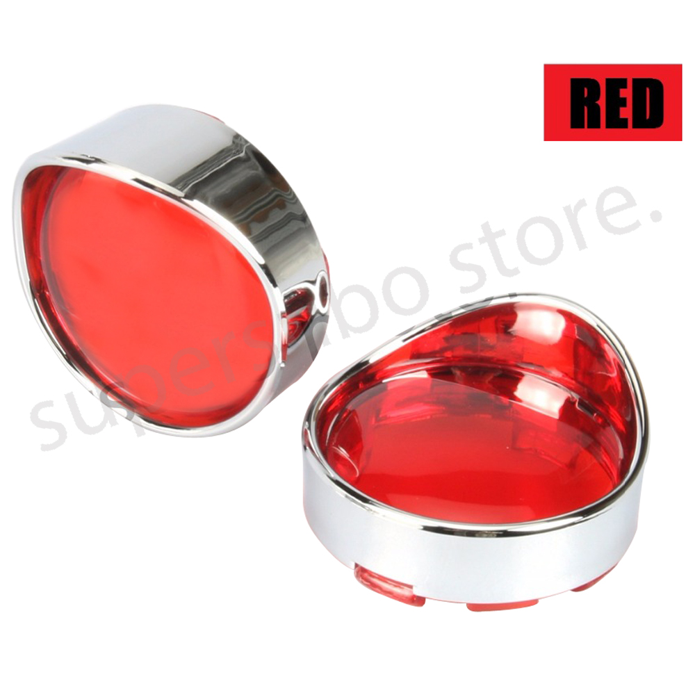 Motorcycle Red Turn Signal Lens With Visor Ring For Harley Dyna Softail Sportsters touring street glide