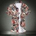 Европейских и Американских Популярный стиль С Коротким Рукавом Футболки мужской Летней Одежды Цветочные Camisas Hombre Большой Размер M ~ 6XL 7XL 3020