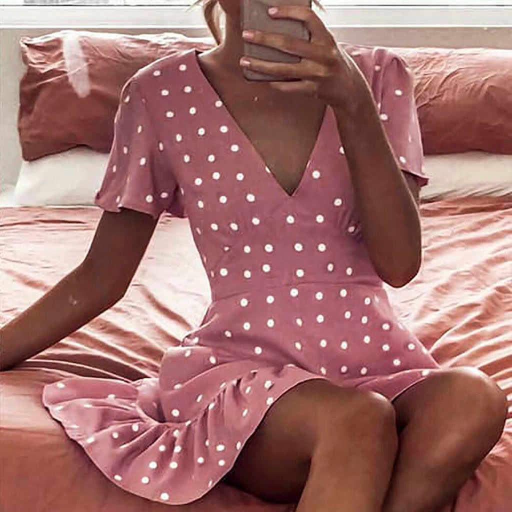 Для женщин богемный плиссированное платье Sexy v-образным вырезом Цветочные Летние платья женские вечерние Вечернее Vestido мини-платье Пляжное платье vestidos
