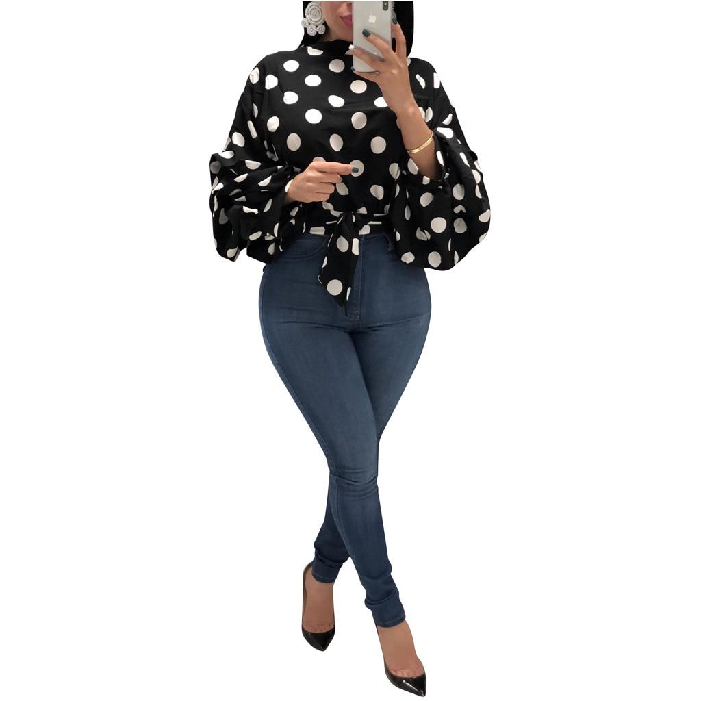3xl Ropa Otoño Mujeres Dot blanco Vintage Camiseta Primavera Sj042m Tamaño Camisa Vendaje Manga Polka Blusas Streetwear rojo Blusa Camisas De Plus Linterna Negro qUpZZw