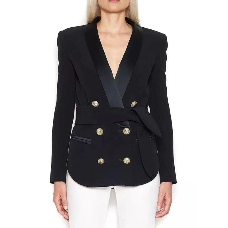 Высокое качество 2018 г. Новые дизайнерские Блейзер Для женщин двубортный Лев кнопки шнуровкой ремень блейзер верхняя одежда