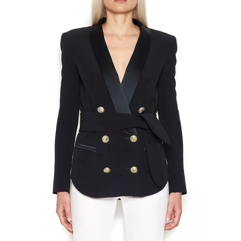 HIGH QUALITY Newest 2019 Designer Blazer Jacket Women's Double Breasted Lion Buttons Lacing Belt Blazer Outer Wear