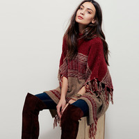 BOHO PEOPLE Winter Cardigan Sweater O Neck Batwing Sleeve Tassels Loose Outerwear Red Knitted Shawl Poncho