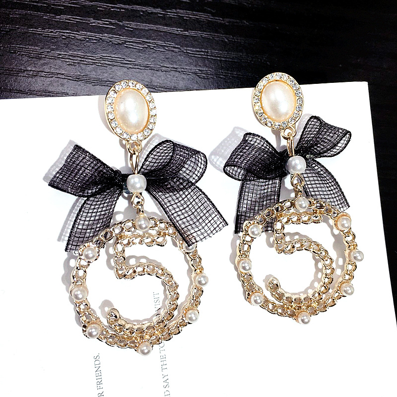 SHIFEEL Jewelry Ribbon-Bow Drop-Earrings Pearl Number-5 New-Fashion Korea Women Circle