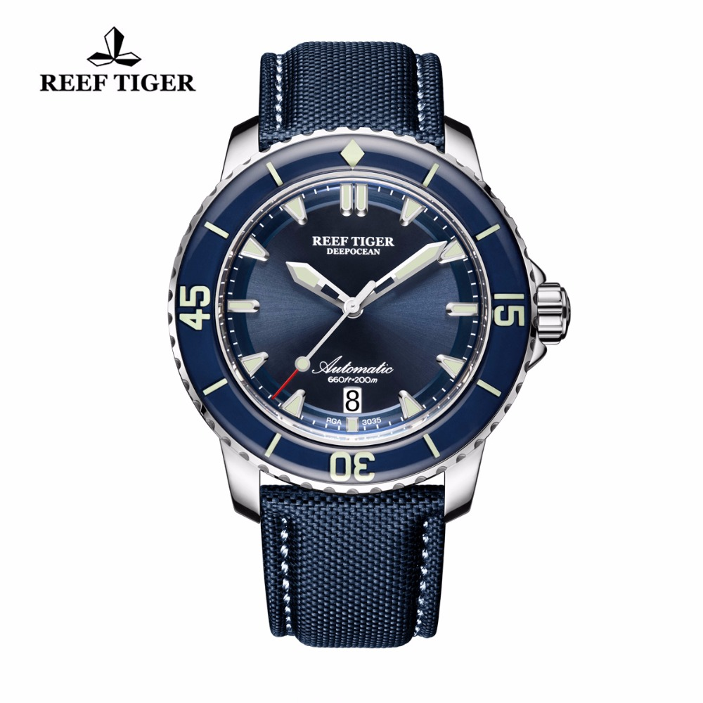 Reef Tiger/RT Super Luminous Dive Watches Mens Analog Automatic Blue Dial Watches with Date RGA3035 reef tiger rt super luminous dive watches for men rose gold blue dial watches analog automatic watches rga3035